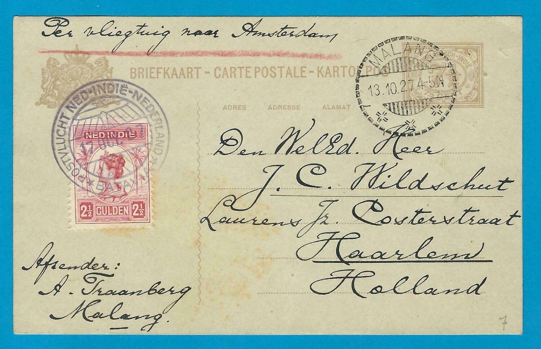 NEDERLANDS INDIË 1927 Koppen retourvlucht Malang naar Haarlem