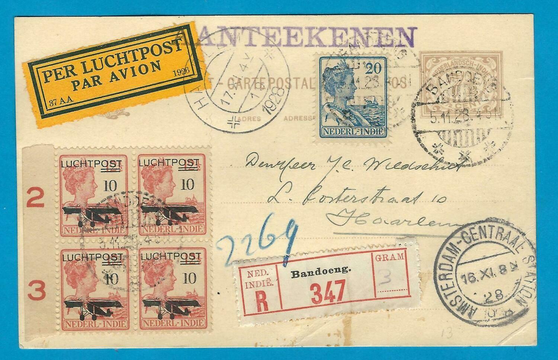 NEDERLANDS INDIË R lp briefkaart 1928 Bandoeng naar Haarlem
