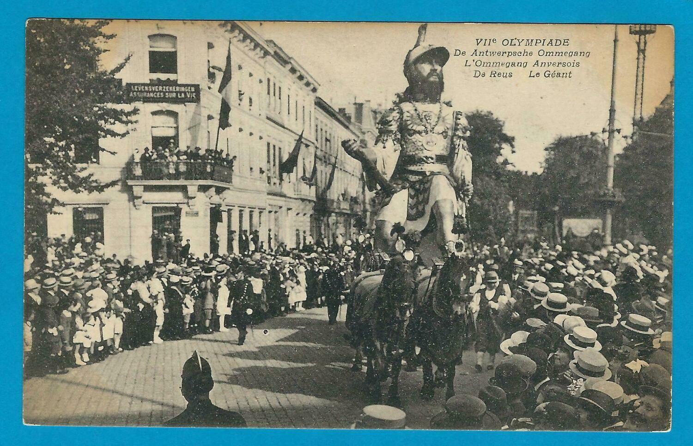OLYMPIADE 1920 België prentbriefkaart Antwerpse ommegang de Reus
