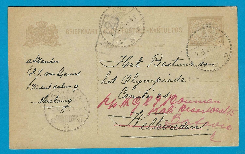 OLYMPIADE 1928 Amsterdam briefkaart aan Olympiade comité Indië