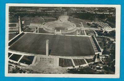 OLYMPIADE 1936 Berlijn prentbriefkaart stadion naar Nederland
