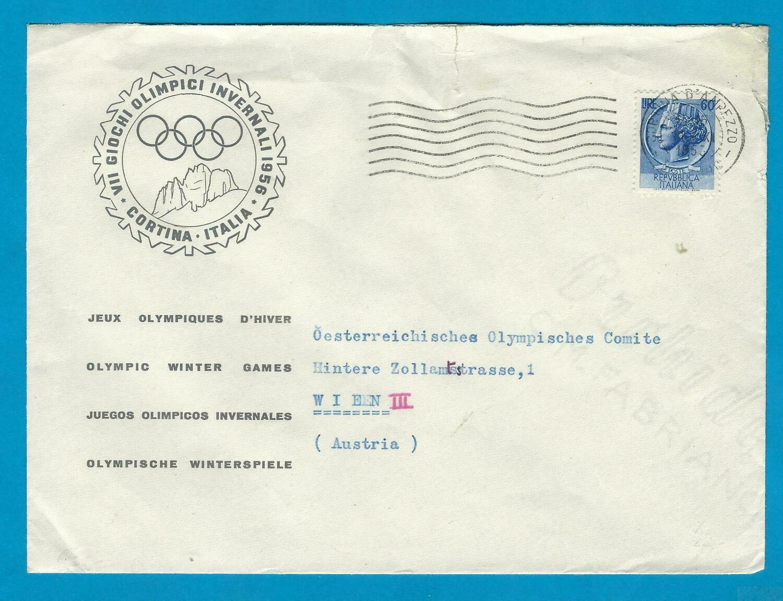 OLYMPIADE 1956 Winterspelen Cortina comité brief naar Wenen