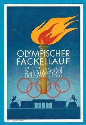 OLYMPIADE 1936 Berlijn kaart fakkelloop Oostenrijk