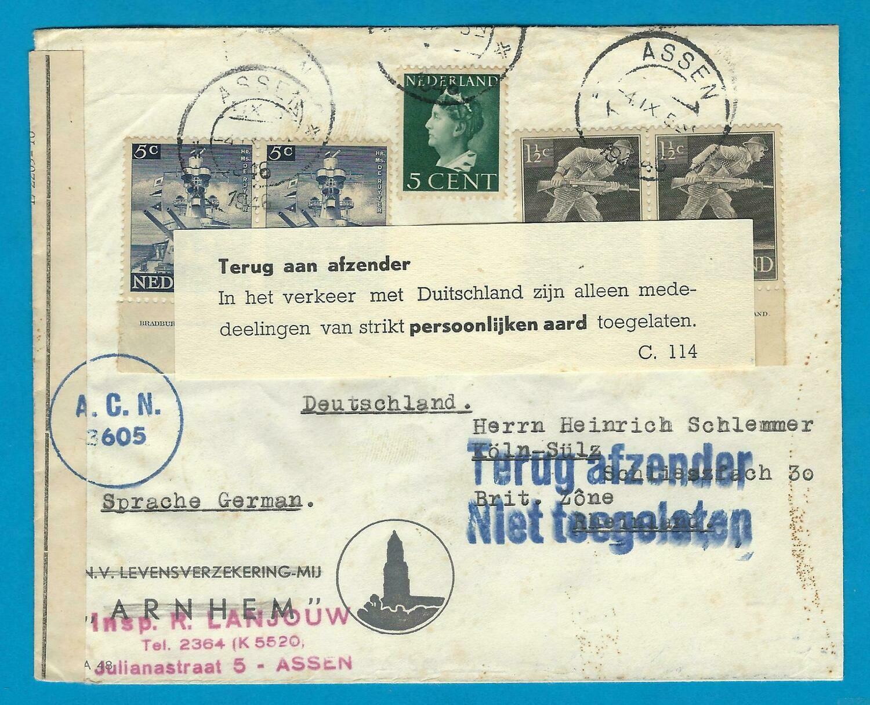 NEDERLAND brief 1946 Assen naar Duitsland retour-niet toegelaten