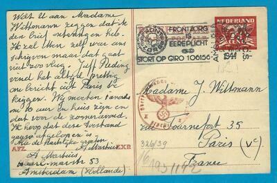 NEDERLAND briefkaart 20-VII-1944 Amsterdam naar Parijs
