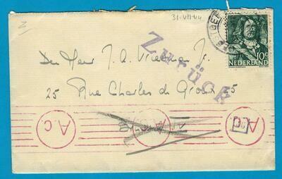 NEDERLAND brief 31-8-1944 Oegstgeest naar (bevrijd) Brussel -retour