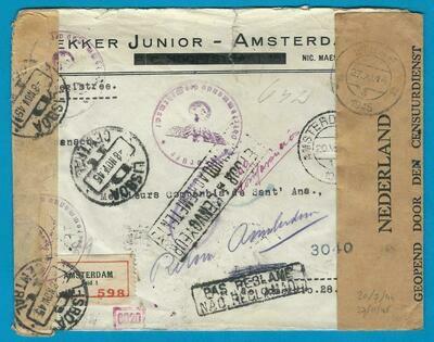 NEDERLAND brief 20-VII-1944 Amsterdam naar Portugal en retour 1945