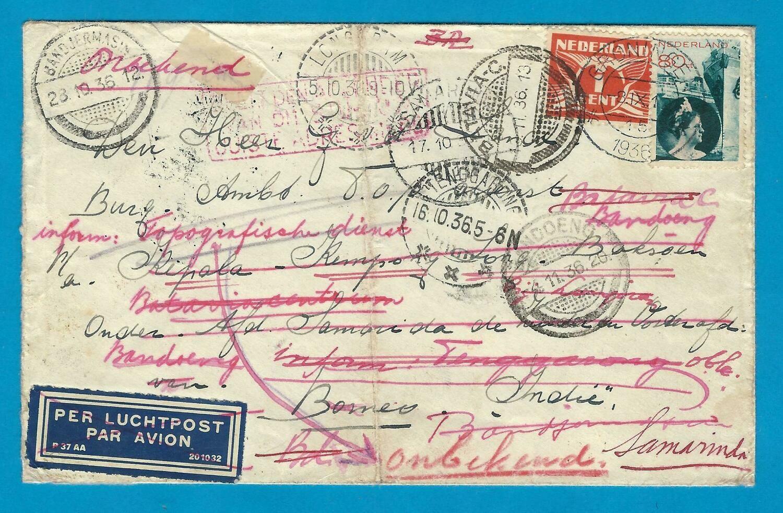 NEDERLAND lp zwerfbrief 1936 Groningen naar Indië