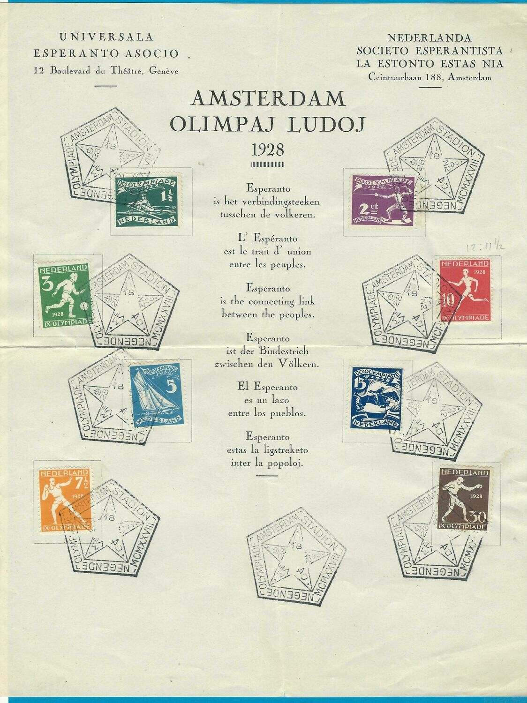 NEDERLAND Olympiade 1928 set speciaal stempel op Esperanto vel
