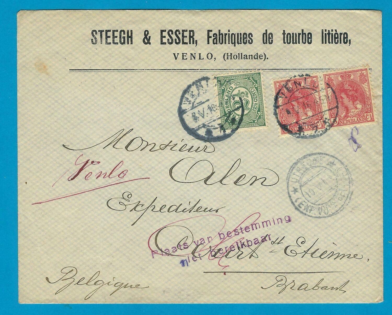NEDERLAND brief 1916 Venlo naar België verbinding verbroken