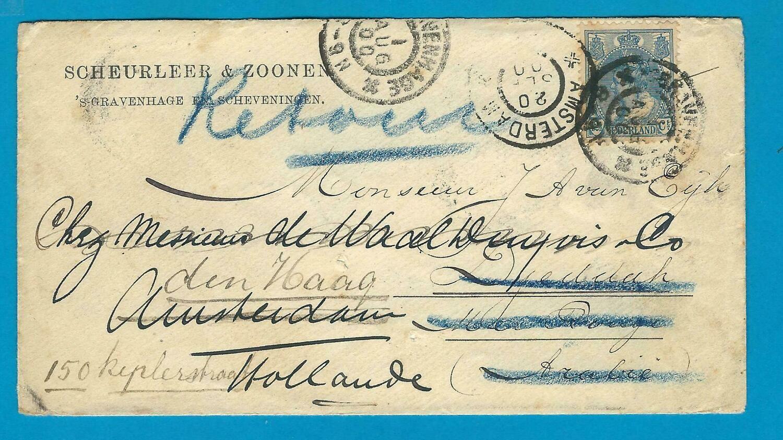 NEDERLAND brief 1900 Den Haag naar Djeddah Arabia en retour