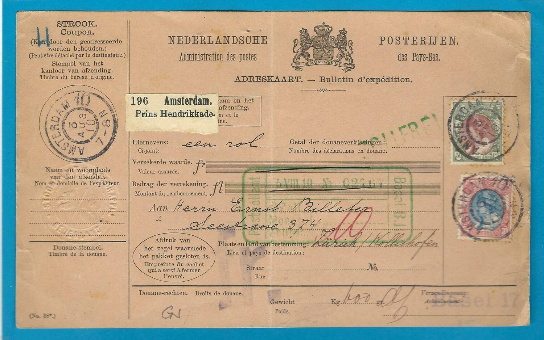 NEDERLAND pakketkaart 1910 Amsterdam 10 naar Zwitserland