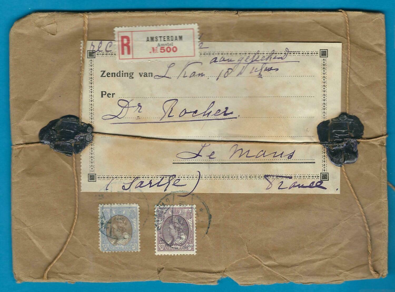NEDERLAND verzegeld pakketje 1920 Amsterdam naar Frankrijk