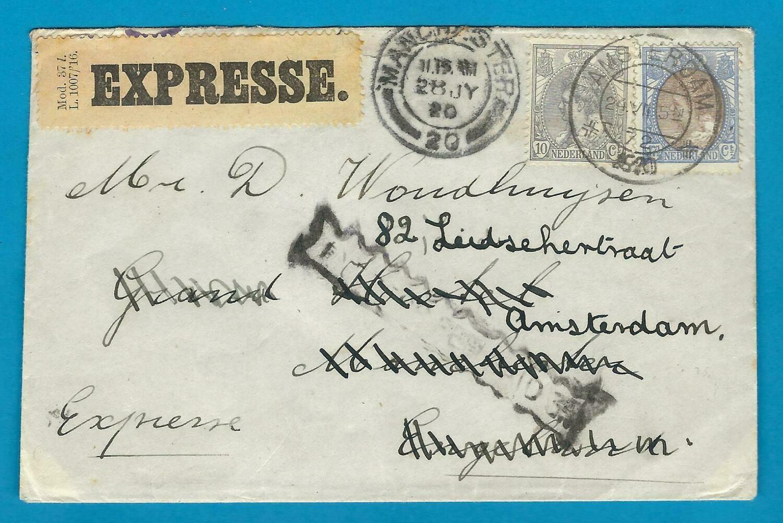 NEDERLAND Expres brief 1920 Amsterdam naar Engeland en retour