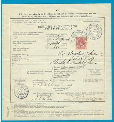 NEDERLAND Bericht van Ontvangst 1919 Cornjum naar Oudkerk
