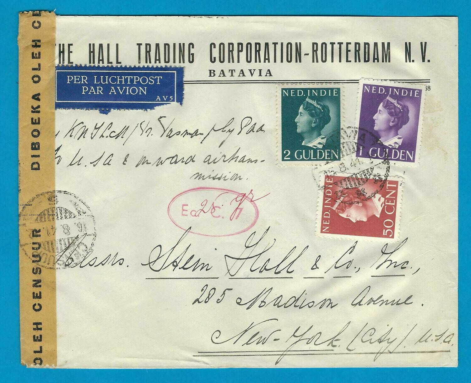 NETHERLANDS EAST INDIES censor cover 1941 Batavia to USA