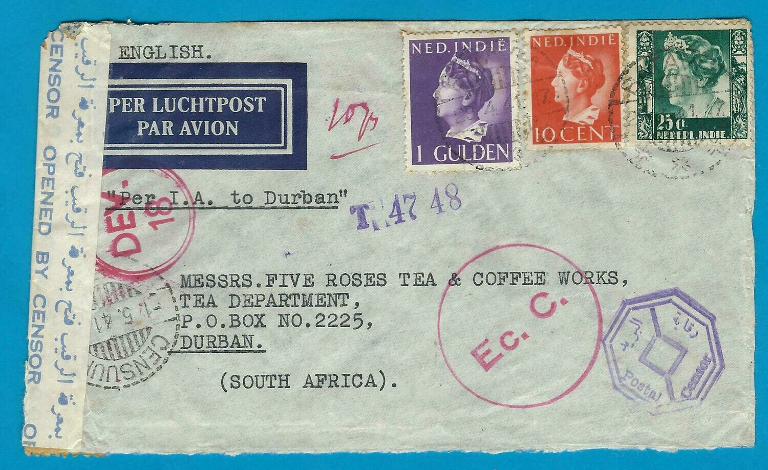 NETHERLANDS EAST INDIES censor air cover 1941 Batavia to S-Africa