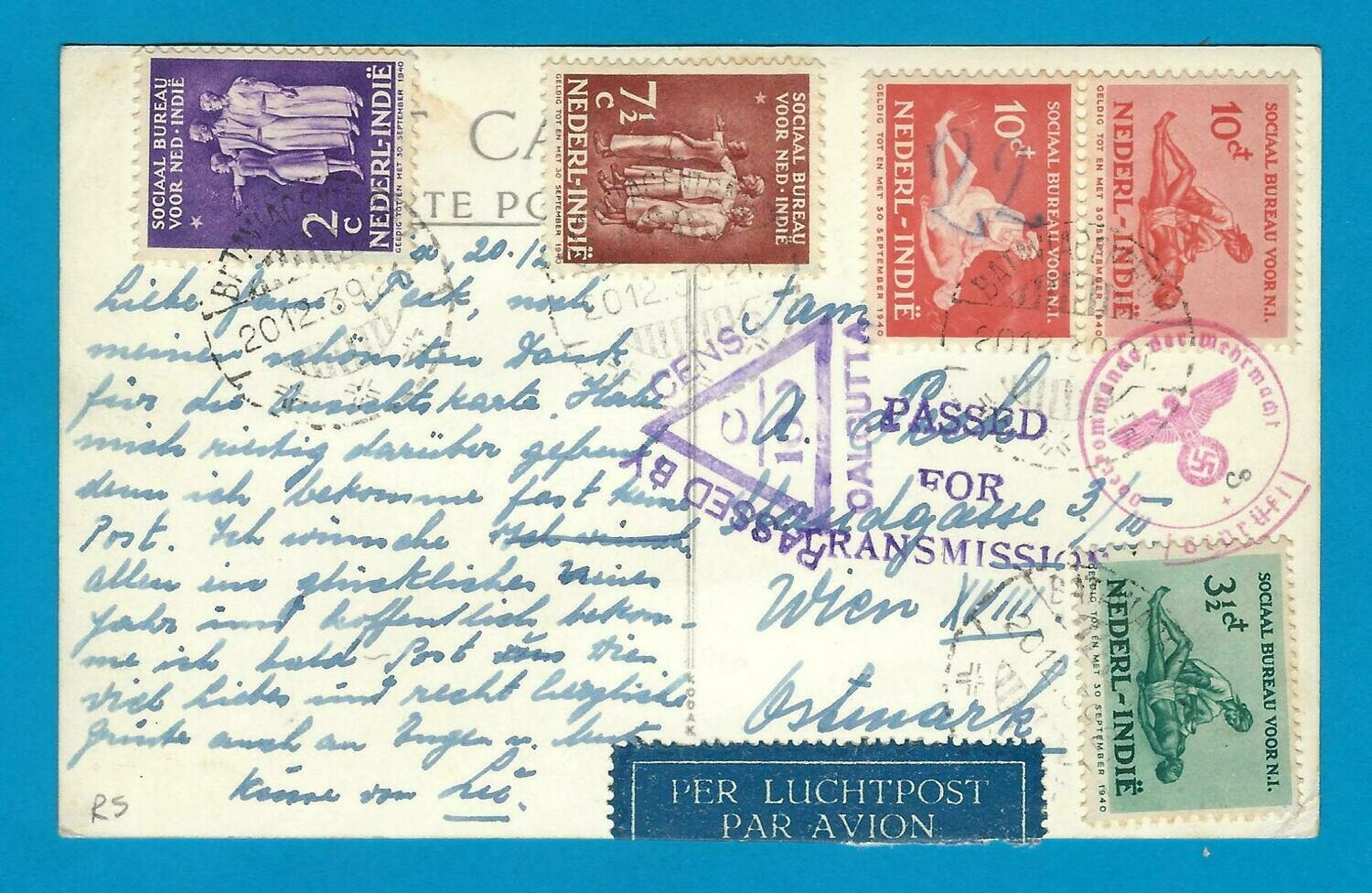 NETHERLANDS EAST INDIES censored PPC 1939 Batavia to Austria