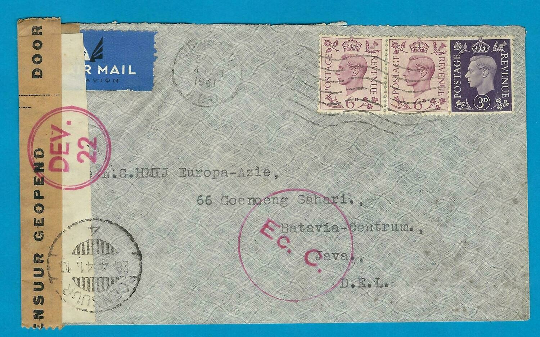 ENGLAND censor air cover 1941 Birmingham to Dutch Indies
