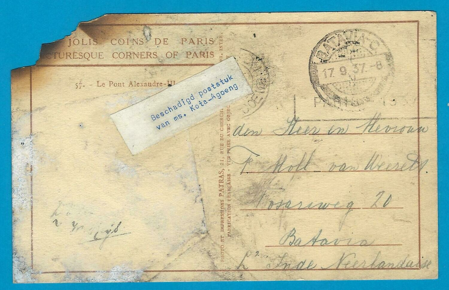 NETHERLANDS EAST INDIES crash mail 1937 M.S. Kota Agoeng