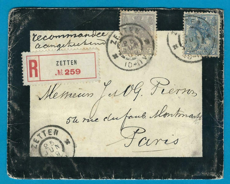 NEDERLAND R Rouwbrief 1909 Zetten naar Parijs