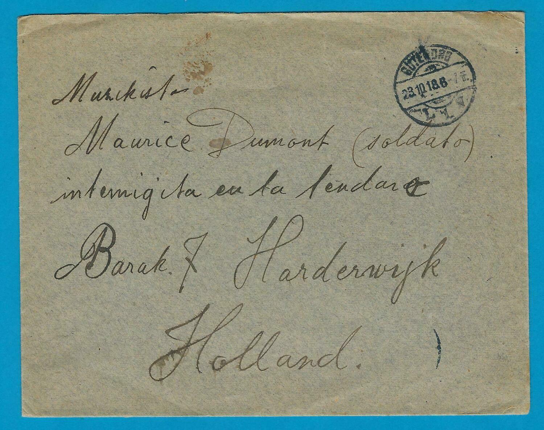 NEDERLAND 1e Wereld oorlog brief 1918 Zweden naar geïnterneerde