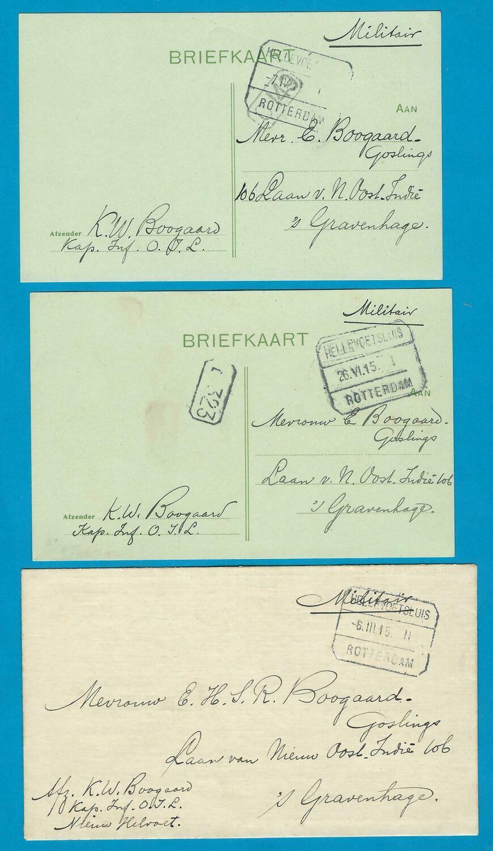 NEDERLAND 3 militair items 1915 Nieuw Helvoet tramstempel