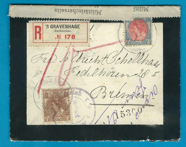 NEDERLAND R gecensureerde rouwbrief 1917 Den Haag - Duitsland