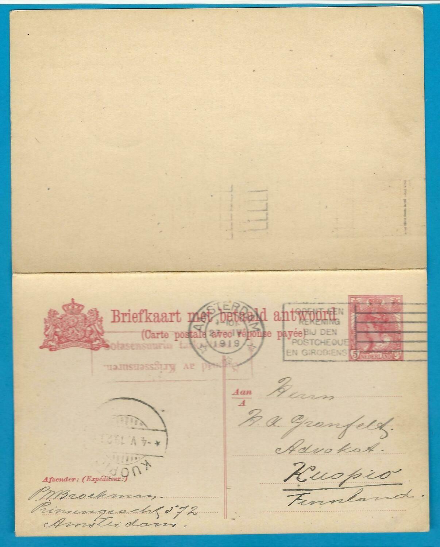 NEDERLAND briefkaart 1919 Amsterdam naar Finland met censuur