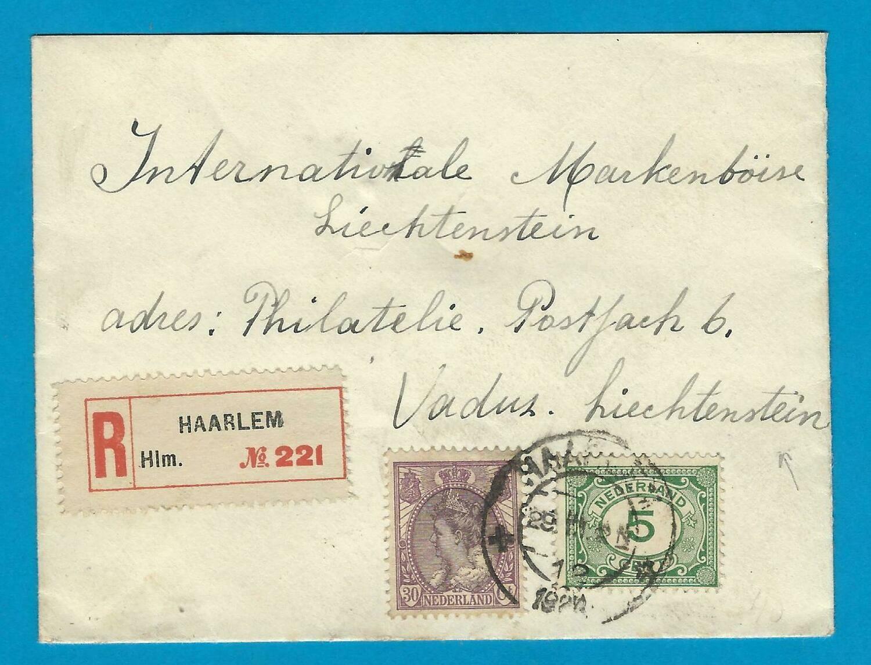 NEDERLAND R brief 1922 Haarlem naar Liechtenstein