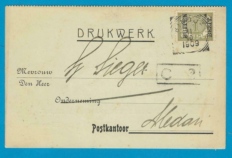 NETHERLANDS EAST INDIES printed matter 1909 Bindjey