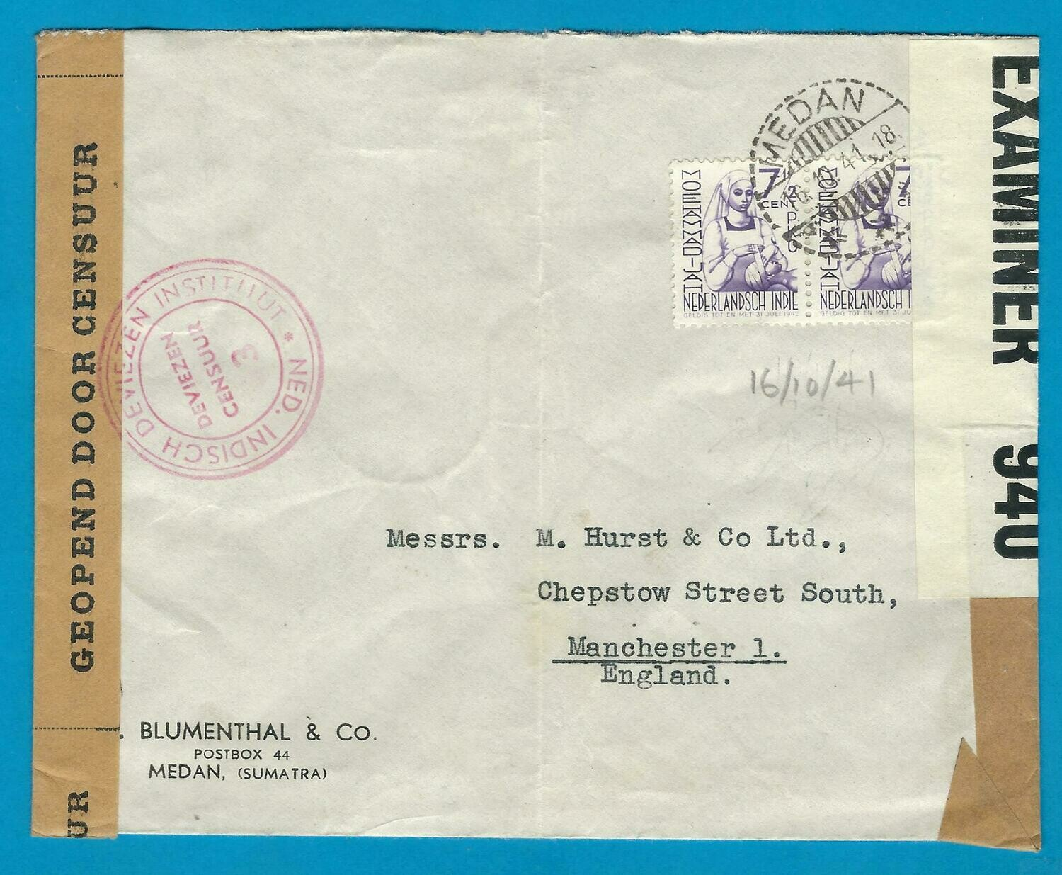NETHERLANDS EAST INDIES censor cover 1941 Medan to England