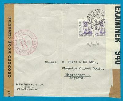 NETHERLANDS EAST INDIES censor cover 1941 Medan to England