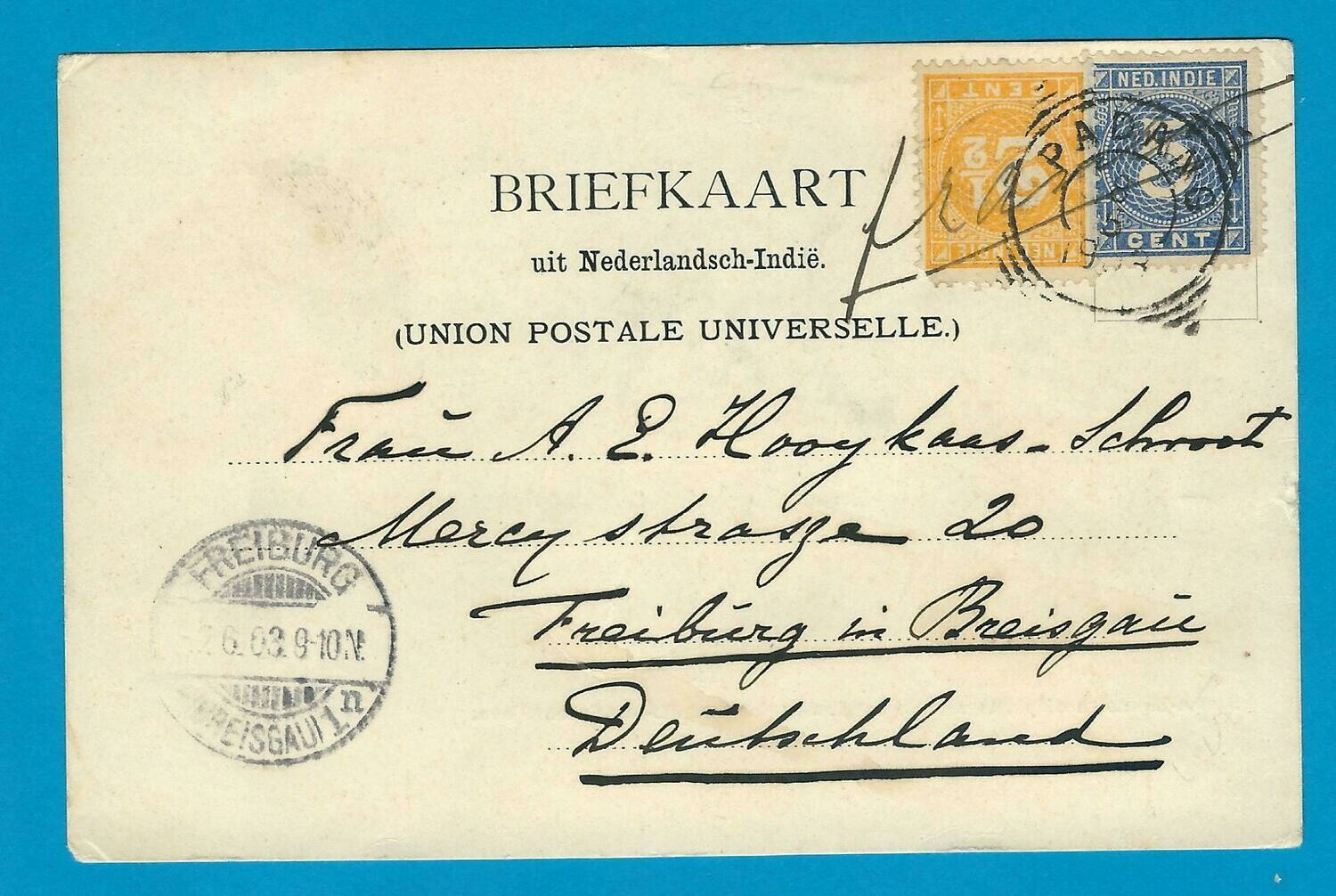 NETHERLANDS EAST INDIES PPC 1903 Padang to Germany