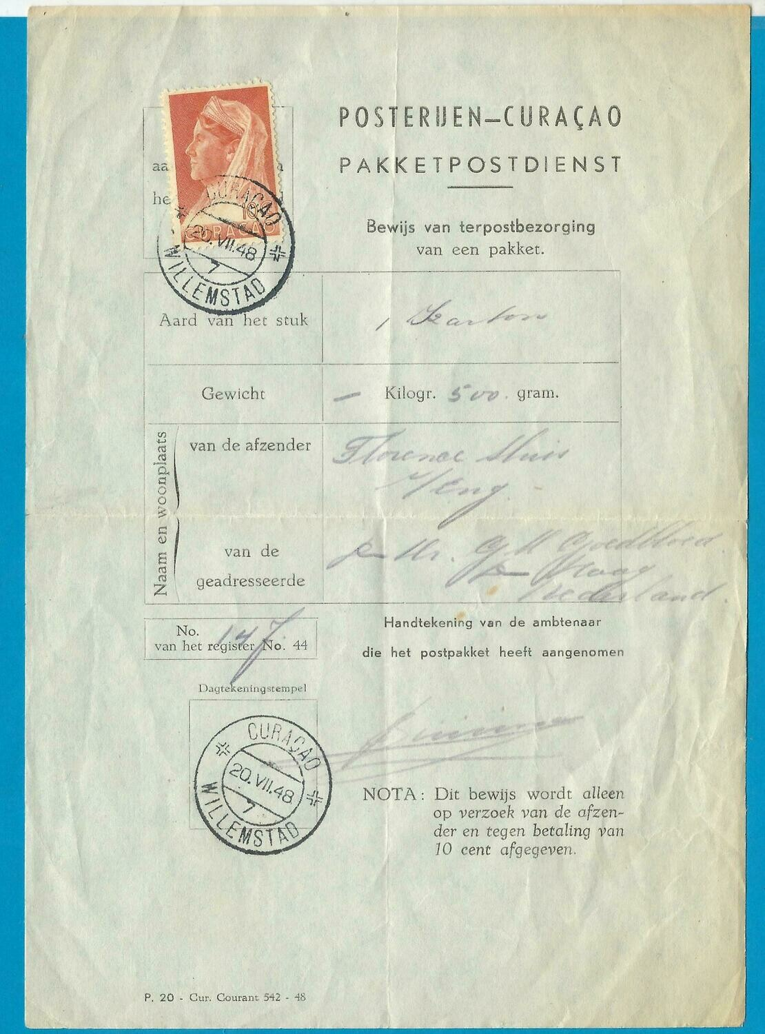 CURAÇAO form 1948 for delivery of a parcel