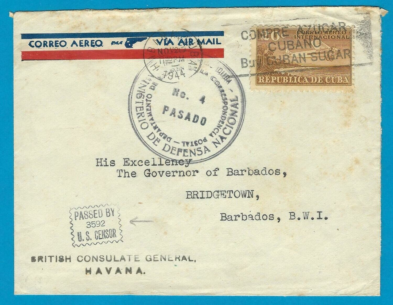 CUBA censor air cover 1944 Habana to Barbados