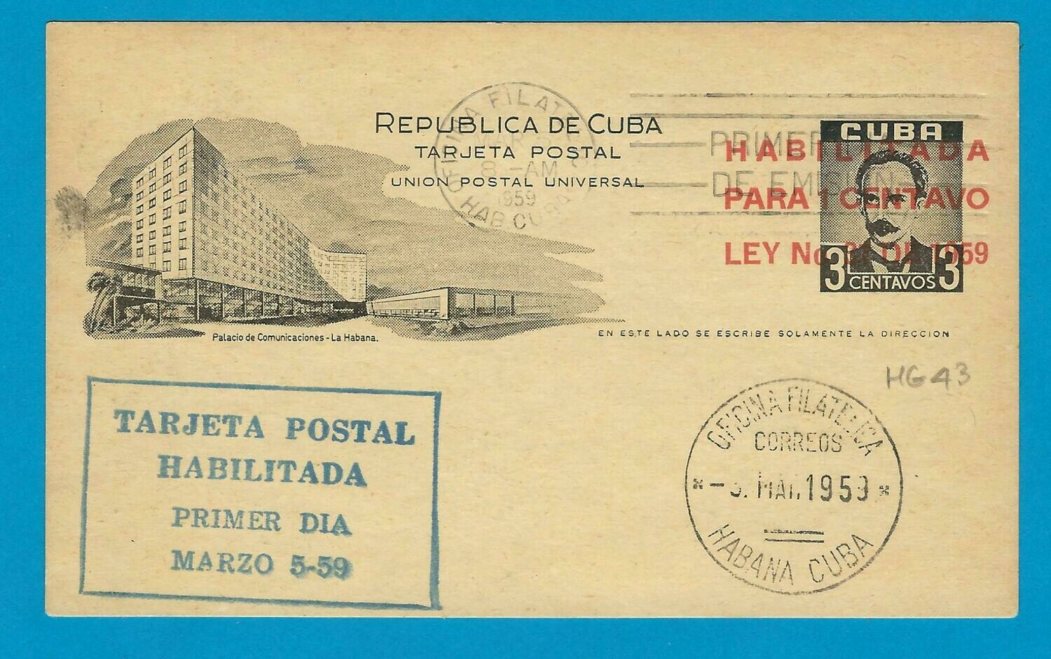CUBA postal card 1959 with Habilitada overprint