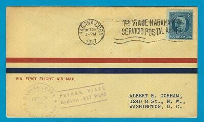 CUBA air cover 1927 Habana - Key West to Washington
