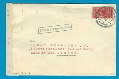 COSTA RICA censored cover 1944 Punta Arenas to Canada