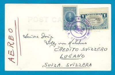 COSTA RICA PPC 1947 San José to Switzerland