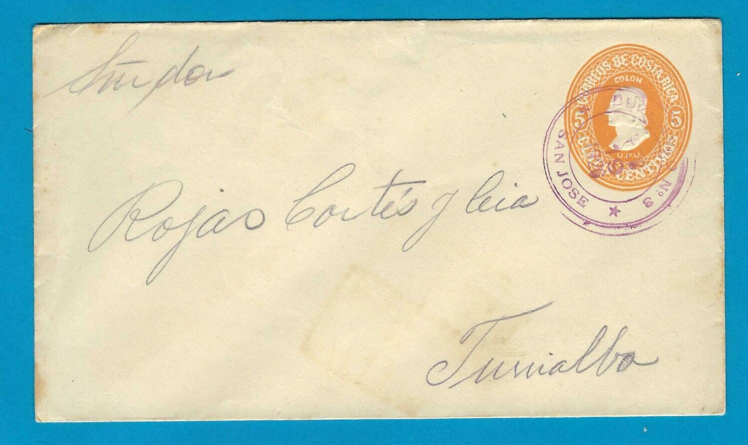 COSTA RICA postal envelope 1926 Buzonero no 3 to Turrialbo