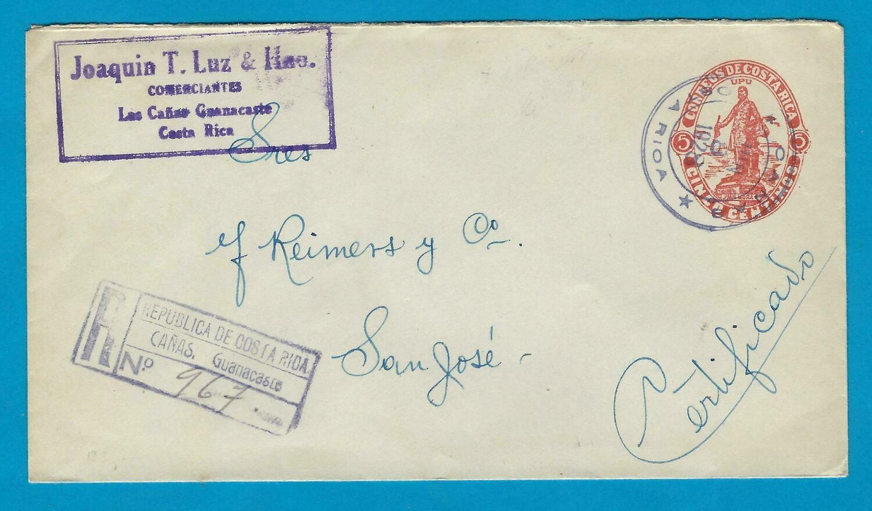 COSTA RICA R envelope 1928 Cañas to San José