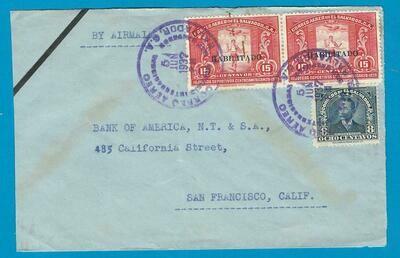 EL SALVADOR airmail cover 1937 San Salvador to USA