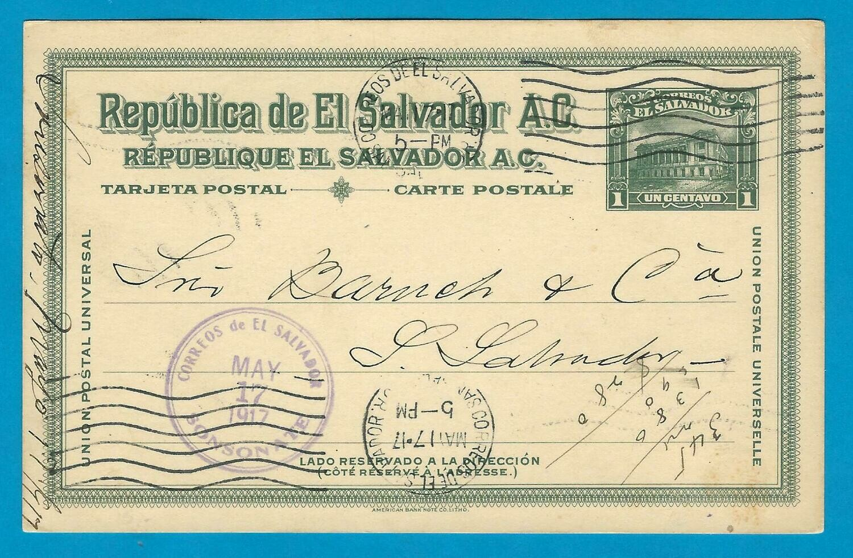 EL SALVADOR postal card 1917 Sonsonate to San Salvador