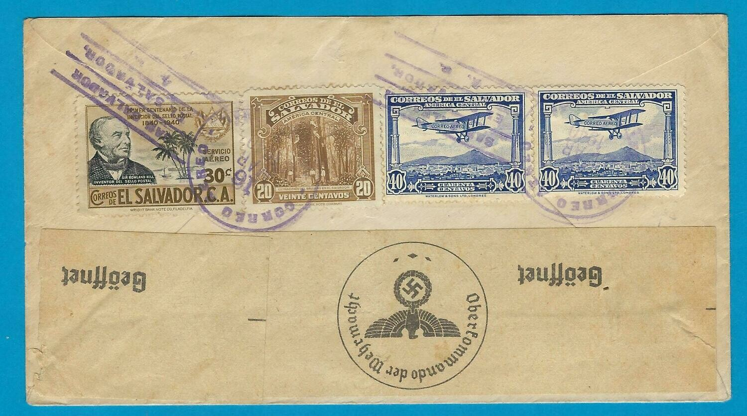 EL SALVADOR censor air cover 1940 San Salvador to Germany