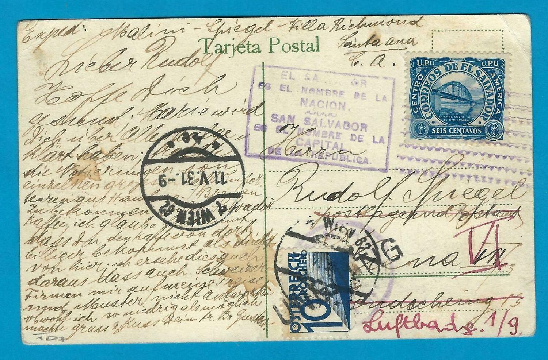 EL SALVADOR PPC 1931 San Salvador to Austria with due