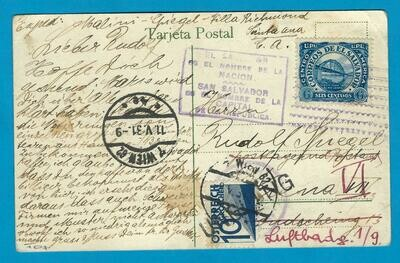 EL SALVADOR PPC 1931 San Salvador to Austria with due