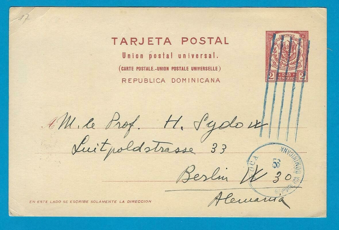 DOMINICAN REPUBLIC posal card 1928 Moca to Germany
