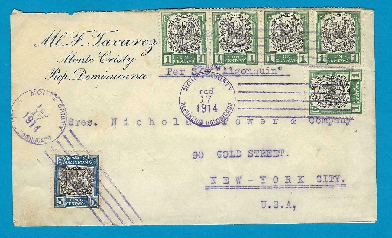 DOMINICAN REPUBLIC cover 1914 Monte Cristy to USA