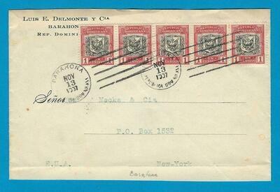 DOMINICAN REPUBLIC cover 1907 Barahona to USA